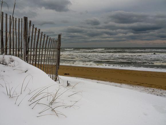 Snow dunes at the beach