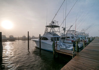 Sportfishing boats at dawn in Oregon Inlet Marina