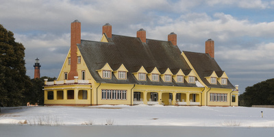 The Whalehead Club in ice and snow