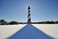 Cape Hatteras Lighthouse in the snow, an unusual sight.