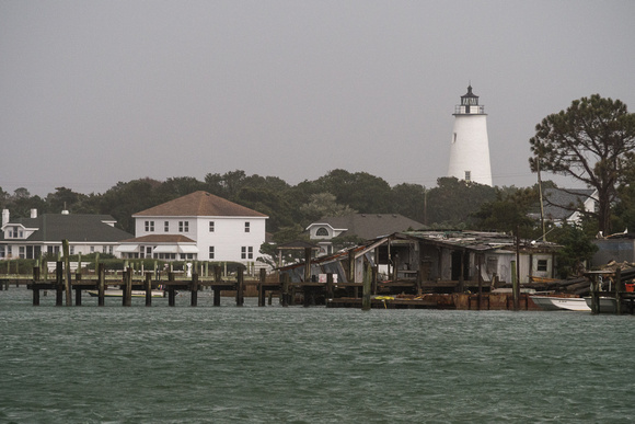The Ocracoke Lighthouse overlooking Silver Lake