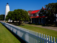 Ocracoke Lighthouse under a blue sky